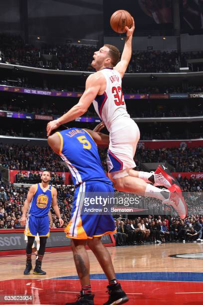 Blake Griffin of the LA Clippers dunks against the Golden State Warriors on February 2 2017 at STAPLES Center in Los Angeles California NOTE TO USER...