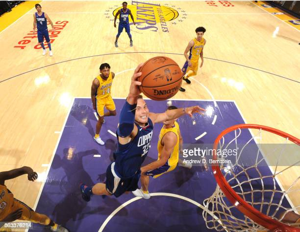 Blake Griffin of the LA Clippers dunks against the Los Angeles Lakers during the game on October 19 2017 at STAPLES Center in Los Angeles California...