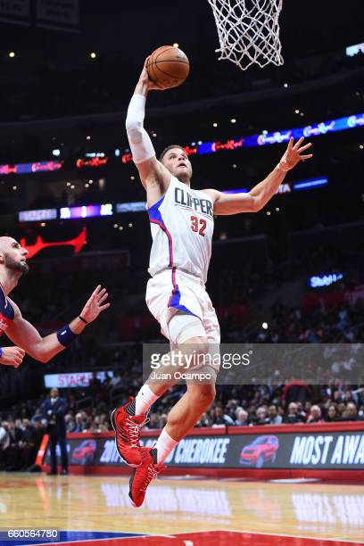 Blake Griffin of the LA Clippers dunks the ball against the Washington Wizards on March 29 2017 at STAPLES Center in Los Angeles California NOTE TO...