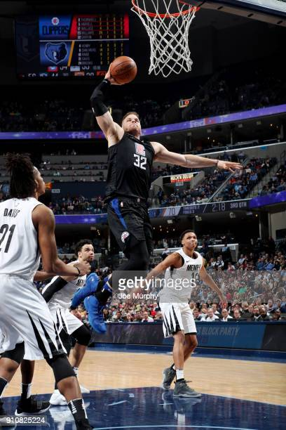 Blake Griffin of the LA Clippers dunks the ball during the game against the Memphis Grizzlies on January 26 2018 at FedExForum in Memphis Tennessee...