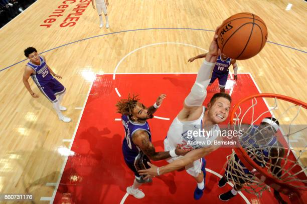 Blake Griffin of the LA Clippers goes to the basket against the Sacramento Kings on October 12 2017 at STAPLES Center in Los Angeles California NOTE...