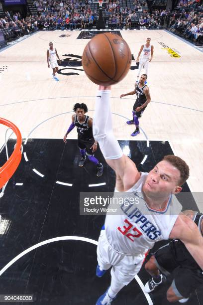 Blake Griffin of the LA Clippers goes up for a dunk against the Sacramento Kings on January 11 2018 at Golden 1 Center in Sacramento California NOTE...