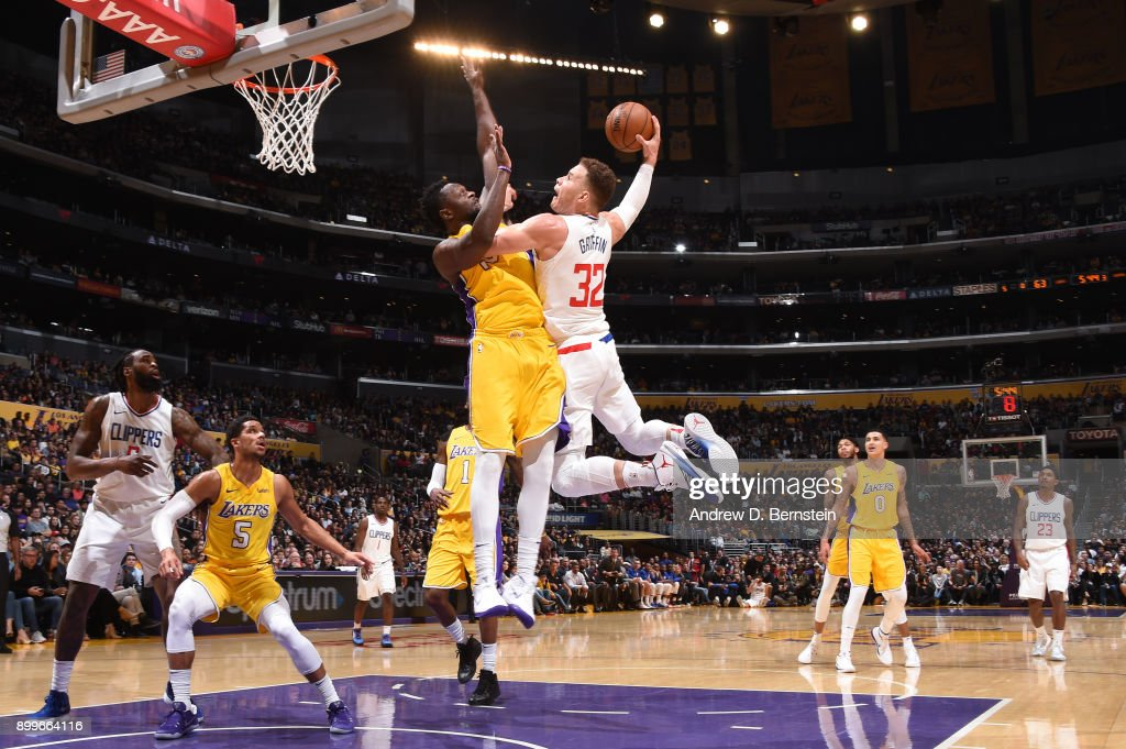 Blake Griffin #32 of the LA Clippers goes up for a dunk against the Los Angeles Lakers on December 29, 2017 at STAPLES Center in Los Angeles, California.
