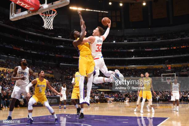 Blake Griffin of the LA Clippers goes up for a dunk against the Los Angeles Lakers on December 29 2017 at STAPLES Center in Los Angeles California...