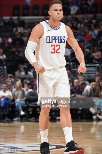 Blake Griffin of the LA Clippers handles reacts during the 2017 NBA PreSeason game against the Portland Trail Blazers on October 8 2017 at STAPLES...