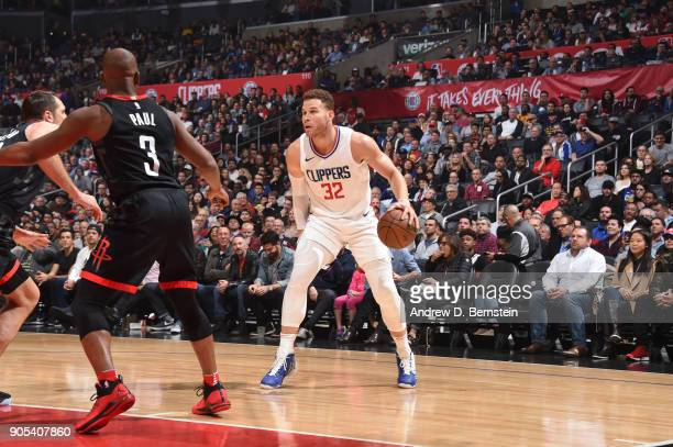 Blake Griffin of the LA Clippers handles the ball against the Houston Rockets on January 15 2018 at STAPLES Center in Los Angeles California NOTE TO...