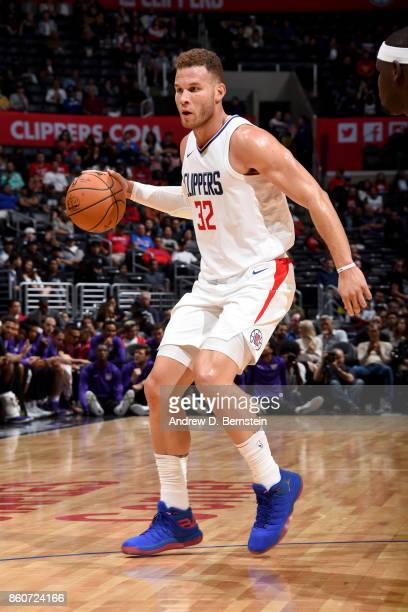 Blake Griffin of the LA Clippers handles the ball against the Sacramento Kings on October 12 2017 at STAPLES Center in Los Angeles California NOTE TO...