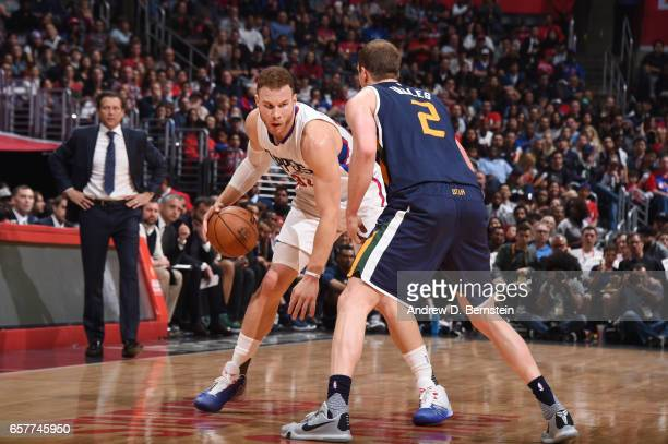 Blake Griffin of the LA Clippers handles the ball during a game against the Utah Jazz on March 25 2017 at STAPLES Center in Los Angeles California...