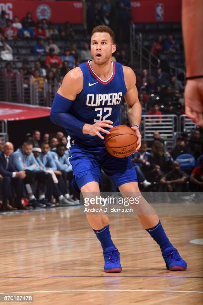 Blake Griffin of the LA Clippers handles the ball during the game against the Memphis Grizzlies on November 4 2017 at STAPLES Center in Los Angeles...