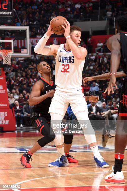 Blake Griffin of the LA Clippers handles the ball during the game against the Houston Rockets on January 15 2018 at STAPLES Center in Los Angeles...
