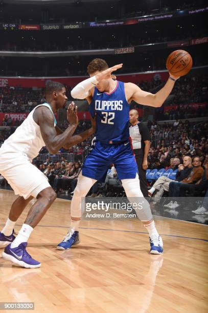 Blake Griffin of the LA Clippers jocks for a position against the Charlotte Hornets on December 31 2017 at STAPLES Center in Los Angeles California...