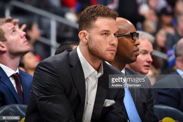 Blake Griffin of the LA Clippers looks on during the game against the Sacramento Kings on December 26 2017 at STAPLES Center in Los Angeles...