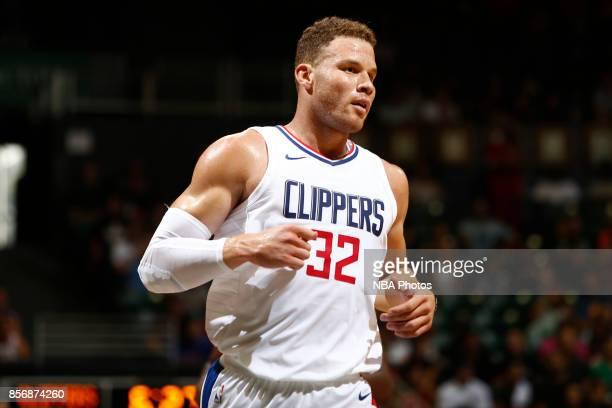 Blake Griffin of the LA Clippers looks on during the preseason game against the Toronto Raptors on October 1 2017 at the Stan Sheriff Center in...