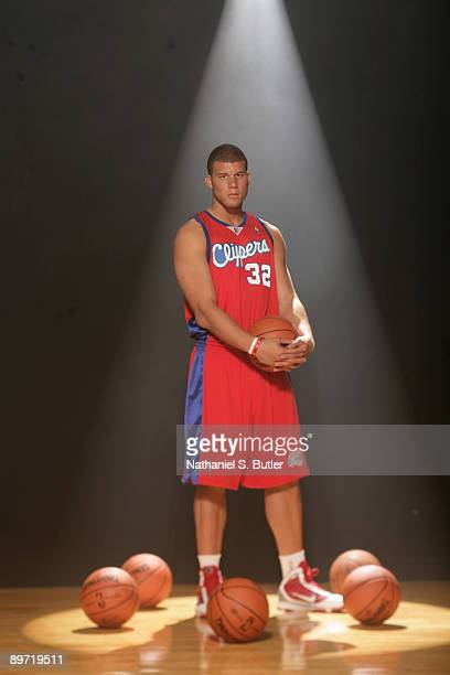 Blake Griffin of the LA Clippers poses during the 2009 NBA rookie portrait shoot at the MSG training facility August 9 2009 in Tarrytown New York...