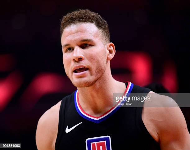 Blake Griffin of the LA Clippers react to a call during a 127117 Oklahoma City Thunder win at Staples Center on January 4 2018 in Los Angeles...