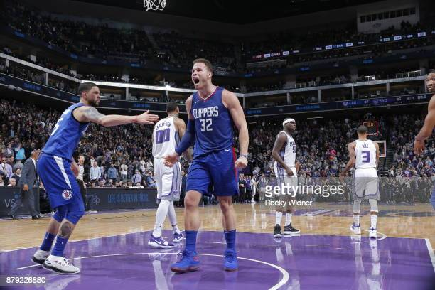 Blake Griffin of the LA Clippers reacts after winning the game against the Sacramento Kings on November 25 2017 at Golden 1 Center in Sacramento...