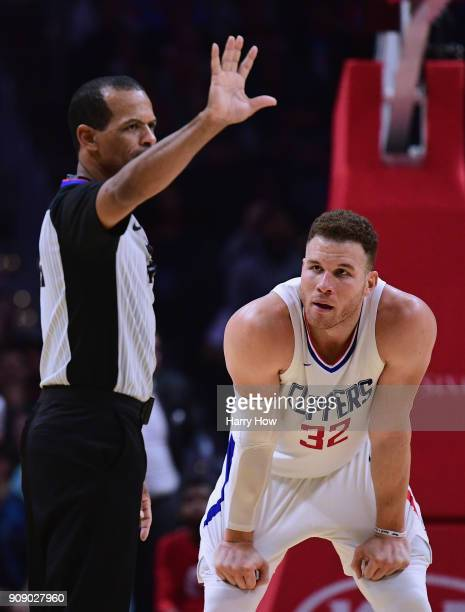 Blake Griffin of the LA Clippers reacts as he is given a technical foul during a 126118 loss to the Minnesota Timberwolves at Staples Center on...