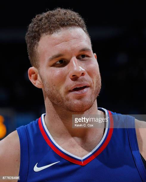 Blake Griffin of the LA Clippers reacts during the game against the Atlanta Hawks at Philips Arena on November 22 2017 in Atlanta Georgia NOTE TO...