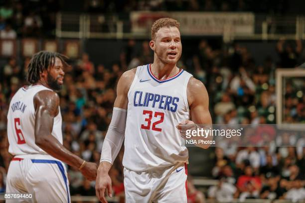 Blake Griffin of the LA Clippers reacts during the preseason game against the Toronto Raptors on October 4 2017 at the Stan Sheriff Center in...