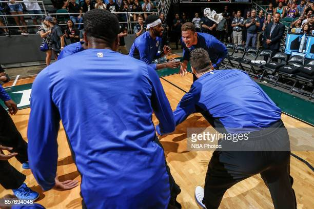 Blake Griffin of the LA Clippers runs out before the preseason game against the LA Clippers on October 4. 2017 at the Stan Sheriff Center in...