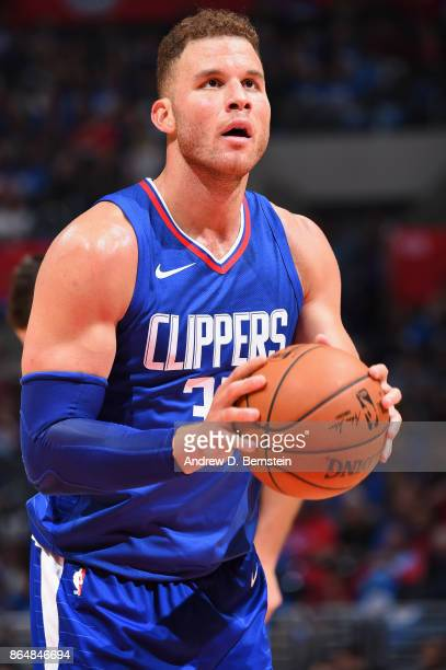 Blake Griffin of the LA Clippers shoots a free throw against the Phoenix Suns on October 21 2017 at STAPLES Center in Los Angeles California NOTE TO...
