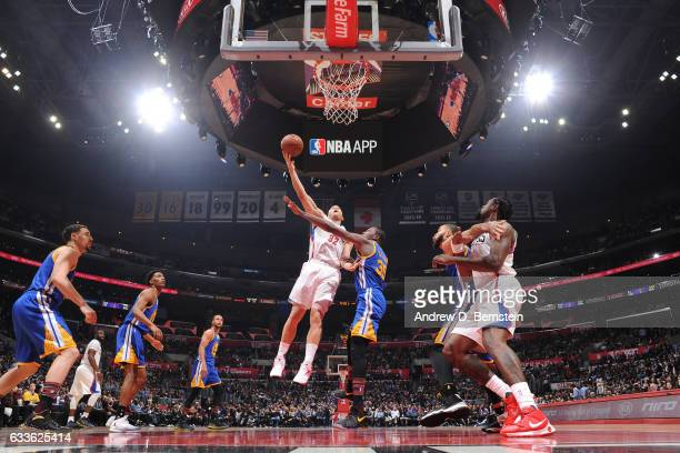 Blake Griffin of the LA Clippers shoots a lay up against the Golden State Warriors on February 2 2017 at STAPLES Center in Los Angeles California...