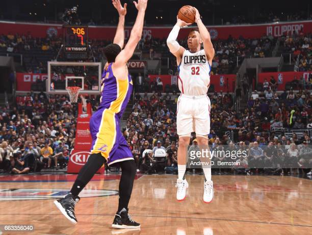 Blake Griffin of the LA Clippers shoots the ball against the Los Angeles Lakers during the game on April 1 2017 at STAPLES Center in Los Angeles...