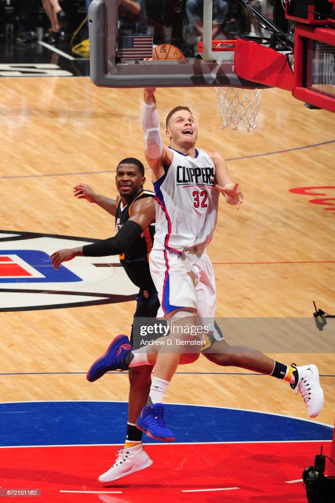 Blake Griffin #32 of the LA Clippers shoots the ball against the Utah Jazz in Game One of Round One during the 2017 NBA Playoffs on April 15, 2017 at STAPLES Center in Los Angeles, California.