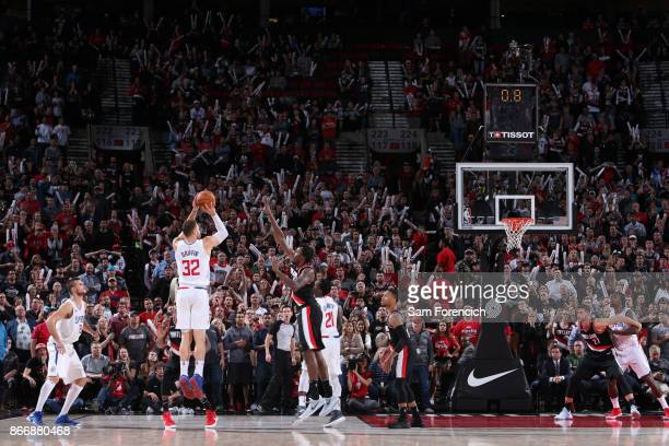 Blake Griffin of the LA Clippers shoots the ball to win the game against the Portland Trail Blazers on October 26 2017 at the Moda Center in Portland...