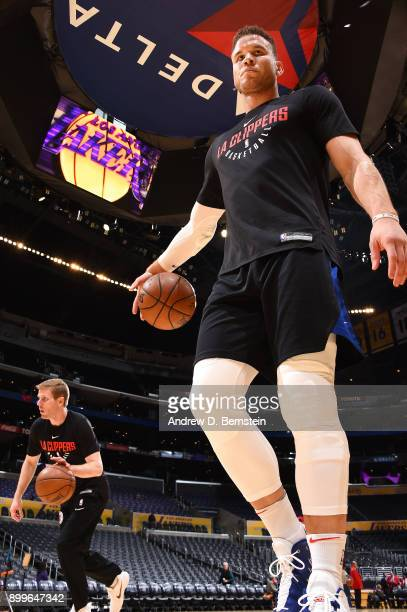 Blake Griffin of the LA Clippers warms up before the game against the Los Angeles Lakers on December 29 2017 at STAPLES Center in Los Angeles...