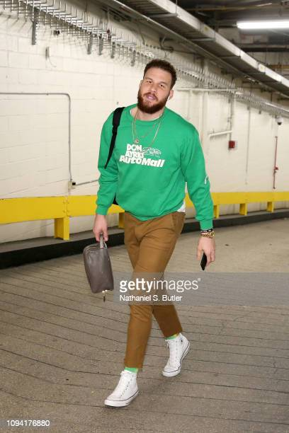 Blake Griffin of the Detroit Pistons arrives to the game against the New York Knicks on February 5 2019 at Madison Square Garden in New York City New...