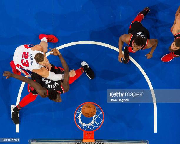 Blake Griffin of the Detroit Pistons battles for position with Pascal Siakam of the Toronto Raptors in the second half of an NBA game at Little...