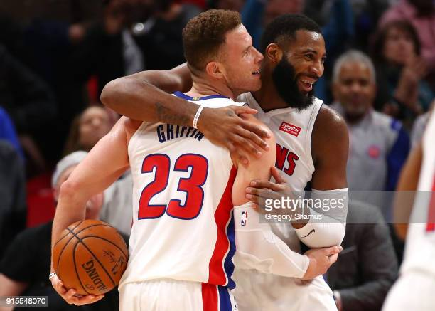 Blake Griffin of the Detroit Pistons celebrates a 115106 win over the Brooklyn Nets with Andre Drummond at Little Caesars Arena on February 7 2018 in...