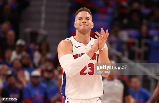 Blake Griffin of the Detroit Pistons celebrates a first quarter basket during the game against the Memphis Grizzlies at Little Caesars Arena on...