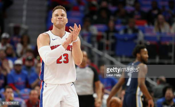 Blake Griffin of the Detroit Pistons celebrates during the fourth quarter of the game against the Memphis Grizzlies at Little Caesars Arena on...