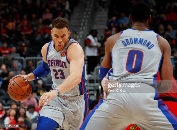 Blake Griffin of the Detroit Pistons drives against the Atlanta Hawks at Philips Arena on February 11 2018 in Atlanta Georgia NOTE TO USER User...