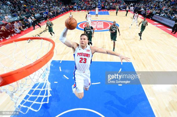 Blake Griffin of the Detroit Pistons dunks against the Milwaukee Bucks on February 28 2018 at Little Caesars Arena in Detroit Michigan NOTE TO USER...