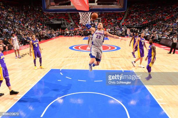 Blake Griffin of the Detroit Pistons dunks the ball against the Los Angeles Lakers on March 26 2018 at Little Caesars Arena in Detroit Michigan NOTE...