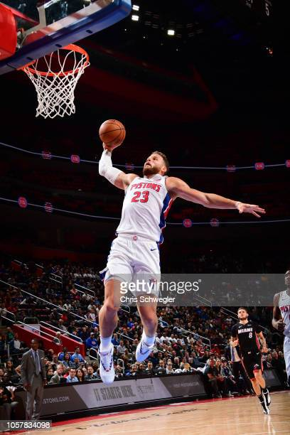 Blake Griffin of the Detroit Pistons dunks the ball against the Miami Heat on November 5 2018 at Little Caesars Arena in Detroit Michigan NOTE TO...