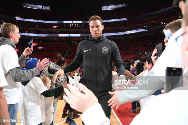 Blake Griffin of the Detroit Pistons enters the arena before the game against the Los Angeles Lakers on March 26 2018 at Little Caesars Arena in...