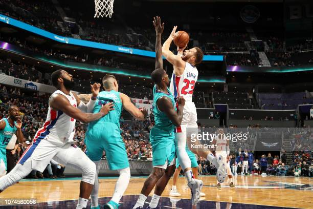Blake Griffin of the Detroit Pistons goes to the basket against the Charlotte Hornets on December 21 2018 at Spectrum Center in Charlotte North...