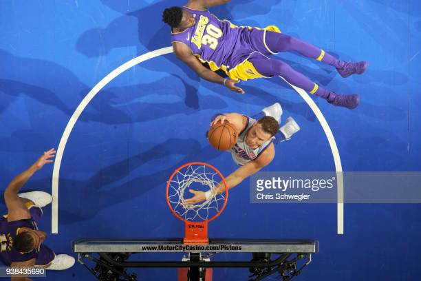 Blake Griffin of the Detroit Pistons goes to the basket against the Los Angeles Lakers on March 26 2018 at Little Caesars Arena in Detroit Michigan...