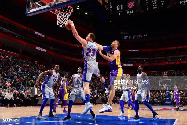 Blake Griffin of the Detroit Pistons grabs the rebound against the Los Angeles Lakers on March 26 2018 at Little Caesars Arena in Detroit Michigan...