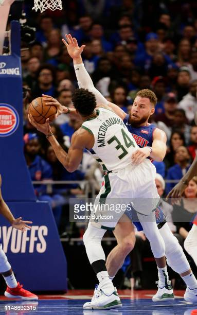 Blake Griffin of the Detroit Pistons guards Giannis Antetokounmpo of the Milwaukee Bucks during the first half of Game Three of the first round of...