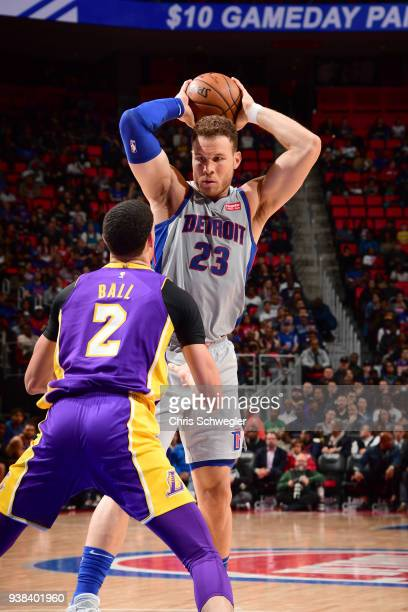 Blake Griffin of the Detroit Pistons handles the ball against the Los Angeles Lakers on March 26 2018 at Little Caesars Arena in Detroit Michigan...