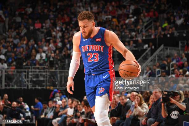 Blake Griffin of the Detroit Pistons handles the ball against the Milwaukee Bucks during Game Four of Round One of the 2019 NBA Playoffs on April 22...
