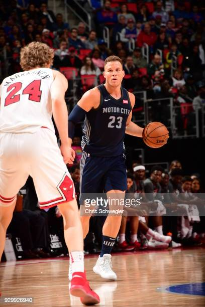 Blake Griffin of the Detroit Pistons handles the ball against the Chicago Bulls on March 9 2018 at Little Caesars Arena in Detroit Michigan NOTE TO...