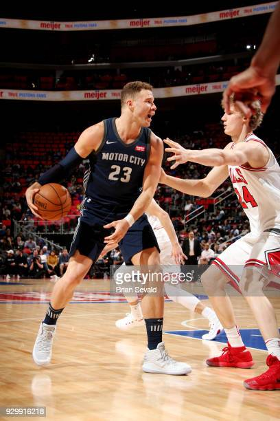 Blake Griffin of the Detroit Pistons handles the ball during the game against the Chicago Bulls on MARCH 9 2018 at Little Caesars Arena in Detroit...