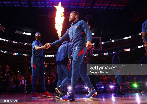 Blake Griffin of the Detroit Pistons is introduced prior to playing the Philadelphia 76ers at Little Caesars Arena on December 23, 2019 in Detroit,...