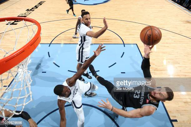 Blake Griffin of the Detroit Pistons lays the ball up against the Memphis Grizzlies on January 2, 2019 at FedExForum in Memphis, Tennessee. NOTE TO...